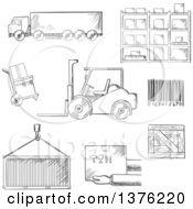 Clipart Of A Black And White Sketched Truck Crate Barcode Container Shelving Loader And Wooden Box Royalty Free Vector Illustration by Vector Tradition SM