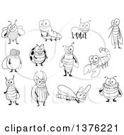 Clipart Of Black And White Bugs Royalty Free Vector Illustration by Vector Tradition SM
