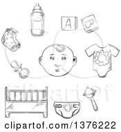 Clipart Of A Black And White Sketched Baby Rib Pacifier Socks Bottle Of Milk Rattle Diaper And Letter Cubes Royalty Free Vector Illustration