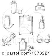 Clipart Of A Black And White Sketched Clipboard Drugs And Pills Ointment Dosage Liquid Medication Dropper And Glasses Royalty Free Vector Illustration