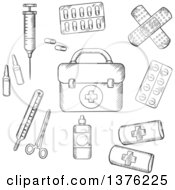 Clipart Of A Black And White Sketched First Aid Kit Plasters Medication Forceps Syringe And Tablets Royalty Free Vector Illustration