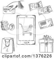 Black And White Sketched Payment Options With A Central Smartphone Displaying A Shopping Cart Surrounded By Icons For A Bag Bank Check Credit Card Banknotes Coins And Gift