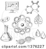 Clipart Of Black And White Sketched Biology And Chemistry Items Royalty Free Vector Illustration