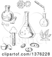 Clipart Of Black And White Sketched Experiment And Scientific Items Royalty Free Vector Illustration