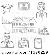 Clipart Of Black And White Sketched Male And Female Teachers Books Briefcase Graduation Hat Tablet Notebook And School Building Royalty Free Vector Illustration by Vector Tradition SM