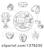 Clipart Of A Black And White Sketched Caviar Sushi Mussels Seaweed Red Fish Salmon Sauce And Lobster Royalty Free Vector Illustration