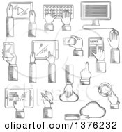 Clipart Of Black And White Sketched Human Hands Working On Tablets Desktop Computer Keyboard Smartphones Digital Pen Cloud Data Storage And Search Application Royalty Free Vector Illustration
