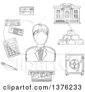 Clipart Of A Black And White Sketched Banker Among Dollar Bills Stacked Gold Bars Bank Cheque Bank Building Calculator Pen ATM And Safe Royalty Free Vector Illustration