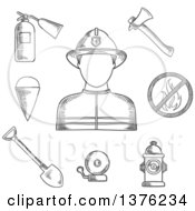 Clipart Of A Black And White Sketched Fireman Flanked By Fire Axe Bucket And Shovel Extinguisher Fire Alarm Hydrant And Prohibition Sign Royalty Free Vector Illustration