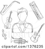 Clipart Of A Sketched Musician Man In Tailcoat Surrounded By Electric Guitar Trumpet Violin Saxophone Treble Clef And Synthesizer Musical Instruments Royalty Free Vector Illustration