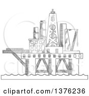 Clipart Of A Black And White Sketched Oil Platform Royalty Free Vector Illustration