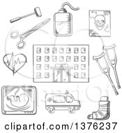 Clipart Of A Black And White Sketched Hospital Building Surrounded By Ambulance X Ray Surgical Tools Cardiograph Blood Transfusion Skull Crutches And Plaster Cast Royalty Free Vector Illustration