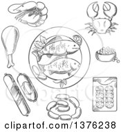 Clipart Of A Black And White Sketched Fish Crab Prawn Caviar Sausage Wurst And Chicken Royalty Free Vector Illustration
