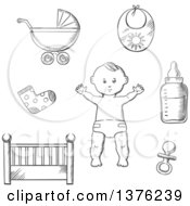 Black And White Sketched Baby In A Nappy Encircled By A Cot Crib Pushchair Booties Bib Bottle And Dummy