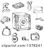 Clipart Of A Black And White Sketched Safe Surrounded By Money Roll Bank Credit Card Stack Of Dollar Bills Coins Gold Bars Dollar Pound And Yen Currency Signs Wallet And Purse Royalty Free Vector Illustration