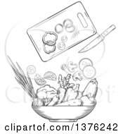 Clipart Of A Black And White Sketched Cutting Board Knife And Salad Veggies Royalty Free Vector Illustration
