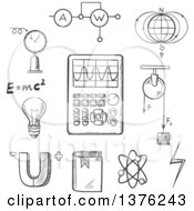 Clipart Of A Black And White Sketched Magnet Electric Power Atom Model Earth Magnetic Field Book Formulas Schemes And Tools Royalty Free Vector Illustration by Vector Tradition SM