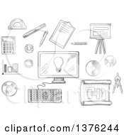 Clipart Of A Black And White Sketched Desktop Computer Surrounded By Icons Of Board Blueprint Graphs Calculator And A Light Bulb On The Screen Royalty Free Vector Illustration by Vector Tradition SM