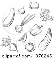 Clipart Of Black And White Sketched Vegetables Royalty Free Vector Illustration
