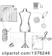 Black And White Sketched Mannequin Scissors Safety Pin Needle Threads Buttons Thimble Fabric And Paper Drawing