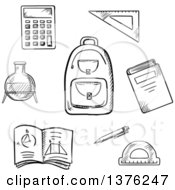 Clipart Of A Black And White Sketched School Backpack Book Calculator Notebook Exercise Book Pencil Chemical Laboratory Flask Triangle Ruler And Protractor Royalty Free Vector Illustration