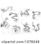 Clipart Of Grayscale Flowing Music Note Wave Designs Royalty Free Vector Illustration