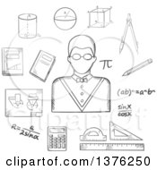 Clipart Of A Grayscale Sketched Male Teacher In Glasses Formulas Calculator Rulers Compasses Pencil Textbooks Drawing And Geometric Figures Royalty Free Vector Illustration