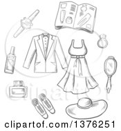 Grayscale Sketched Male And Female Clothing Accessories Shoes Hat Jewelery Catalogue And Mirror