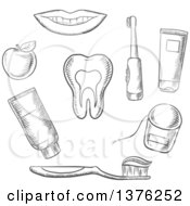 Clipart Of A Grayscale Sketched Tooth Surrounded By Toothbrush Toothy Smile Apple Toothpaste And Floss Royalty Free Vector Illustration by Vector Tradition SM