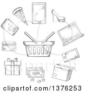 Clipart Of A Grayscale Sketched Shopping Basket Rounded For A Mobile Phone Tablet And Laptop Cash Bank Card Gift Cardboard Carton With A Shoe Fashion Camera Electronics And Fast Food Pizza Royalty Free Vector Illustration