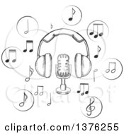 Clipart Of A Black And White Sketched Microphone And Earphones Surrounded By Circular Icons With Music Notes Royalty Free Vector Illustration