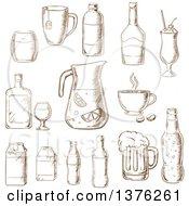 Poster, Art Print Of Brown Sketched Fruit Juice Beer Soda Beer Alcohol Champagne Milkshake Liquor Milk Coffee Liqueur