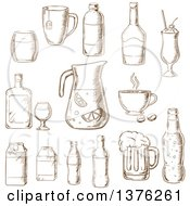 Clipart Of Brown Sketched Fruit Juice Beer Soda Beer Alcohol Champagne Milkshake Liquor Milk Coffee Liqueur Royalty Free Vector Illustration