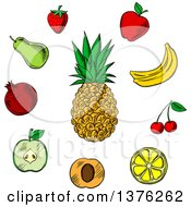 Clipart Of A Sketched Pineapple And Other Fruits Royalty Free Vector Illustration