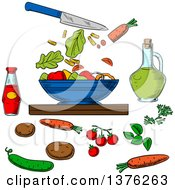 Clipart Of A Sketched Knife And Salad Ingredients Around A Bowl Royalty Free Vector Illustration by Vector Tradition SM