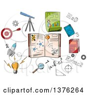 Clipart Of Sketched Science And Astronomy Icons Around A Book Royalty Free Vector Illustration by Vector Tradition SM