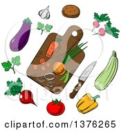 Clipart Of A Cutting Board And Vegetables Royalty Free Vector Illustration