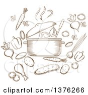 Clipart Of A Brown Sketched Soup Pot Carrot Beet Pepper Cucumber Onion Chicken Leg Potato Steam And Green Leaf Royalty Free Vector Illustration