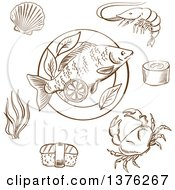 Clipart Of A Brown Sketched Cooked Fish Shrimp Sushi Roll Crab Sushi Nigiri Seaweed And Shellfish Served On Plate With Lemon Slices And Salad Leaves Royalty Free Vector Illustration