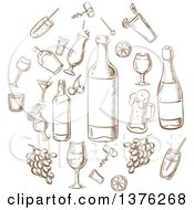 Clipart Of Brown Sketched Beverages Alcohol Fruits Glasses And Corkscrews Sketches In A Circle Royalty Free Vector Illustration by Vector Tradition SM