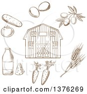 Clipart Of A Brown Sketched Barn And Foods Royalty Free Vector Illustration