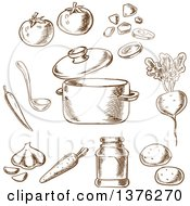 Clipart Of A Brown Sketched Pot Of Vegetarian Soup With Cooking Pot And Ladle Surrounded By Cabbage Beet Garlic Onion Carrot Tomato And Potato Vegetables And Spices Royalty Free Vector Illustration