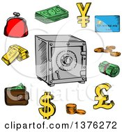Clipart Of Sketched Dollar Bills And Coins Bank Credit Card Stack Of Gold Bars Yen Dollar And Pound Currency Golden Symbols Wallet Purse And Safe Royalty Free Vector Illustration