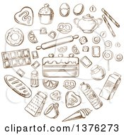 Poster, Art Print Of Brown Sketched Breads Cakes Baking Ingredients And Kitchen Utensils