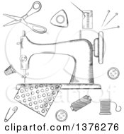 Clipart Of A Black And White Sketched Sewing Machine With Pin Thread Yarn Thimble Button And Cloth Royalty Free Vector Illustration