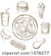 Clipart Of A Brown Sketched Pizza Burger Soda French Fries Ice Cream Cone Hot Dog Croissant And Chicken Drumstick Royalty Free Vector Illustration by Vector Tradition SM