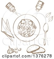 Clipart Of A Brown Sketched Bowl Of Soup Surrounded By White Bread Herbs Seasoning Condiments Napkin And Spoon Royalty Free Vector Illustration