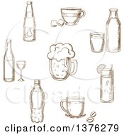 Clipart Of A Brown Sketched Wine Bottle And Glass Beer Coffee Tea Milk Bottle And Glass Orange Juice And Soft Drink Soda Royalty Free Vector Illustration
