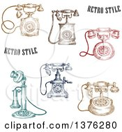 Sketched Colorful Vintage Telephones
