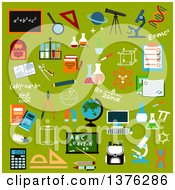 Clipart Of Flat Design School Supplies And Education Icons With Pencils Books Rulers Notebooks Calculator Blackboards Globe Computer Backpacks Microscopes Stationery Atom Dna Magnifier Laboratory Glass Telescope Formulas And Compasses On G